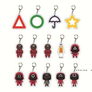Halloween fidget toys Squid game Anime Keychain netflix Man Key Chain Car Accessories Women Cute Bag Pendant KeyRing LLB11029