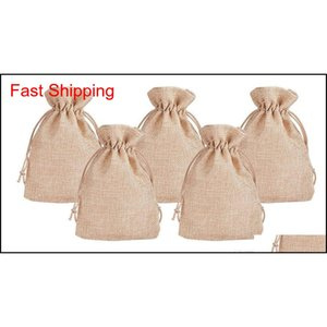 7x9cm 9x12cm 10x15cm 13x18cm Original Color Mini Pouch Jute Bag Linen Hemp Jewelry Gift Pouch Drawstring Bags For W qyleed new_dhbest