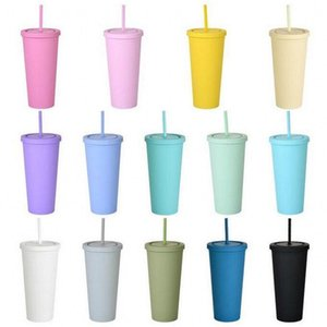 22oz tumblers fosco colorido colorido tumblers acrílico com tampas e palhas de parede dupla plástico resuable copo tumblers