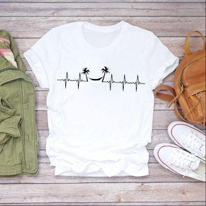 Women 90s Cartoon Beach Vacation Heartbeat Fashion Clothes Lady T shirts Top Womens T Shirt Ladies Graphic Female Tee T Shirt