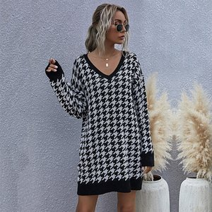 Houndstooth Jumper Sweater Dress Women Autumn Winter Fashion Knitted Pullovers Medium Long Sexy V Neck Ladies Dress 2020 New
