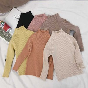 Winter kids solid color knitted warm sweaters baby girls 5 colors thicken long-sleeved clothes children sweater 201103
