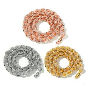الهيب هوب مجوهرات 9 ملليمتر مثلج رابط الشق الذهبي سلسلة قلادة مطلية بالذهب الماس حجر الراين الأزياء والمجوهرات 18 بوصة-24 بوصة سلسلة أفضل هدية