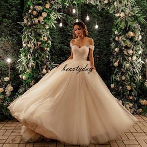 2021 nuevos vestidos de novia coloridos con una línea de hombro de hombro sexy vestidos de novia sin espalda abalorios pliegues pliegues tul barrido tren vintage más tamaño