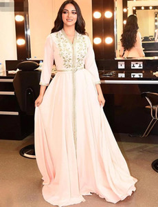 Elegant Pearl Pink Moroccan Kaftan Evening Dresses v neck Long Prom Dress 2021 Embroidery A-Line Full Sleeve Arabic Muslim Formal Gowns