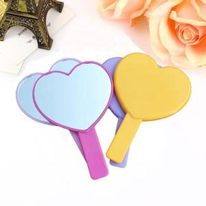 DHL Heart Shaped Travel Handheld Mirror, Cosmetic Hand Mirror with Handle Makeup Mirrors Cute love shape Cosmetic Tool