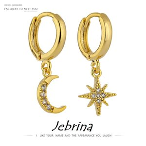 Trendy Exquisite Bling Moon Star Universe Dangle Earrings Copper Gold S925 Earring Post Girl Party Pendientes CZ Crystal