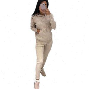 MVGIRLRU осень зима женские вязаный трексуит с капюшоном сплошной цвет большой карманный вязаный двух частей костюм