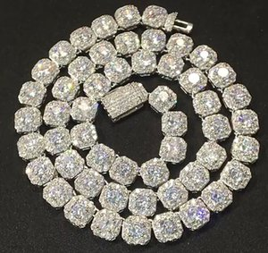 9MM Clustered Diamond Tennis Chain &Bracelet Real Solid Icy Cubic Zircon Stones Bling Mens Women Hip Hop Jewelry 16-20inch