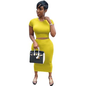 Bodycon Two Peice Set for Women Summer Club Outfits 2020 Casual High Waist Elegant 2 Piece Set Women Matching Skirt and Top Set L0303