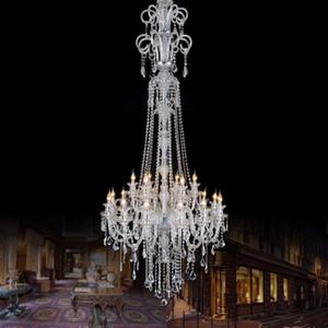 210 سم طويلة الصمام الثريا الكريستال مصباح XL درج كريستال الإضاءة الكنيسة فندق أدى ضوء الثريات درج كبيرة droplight