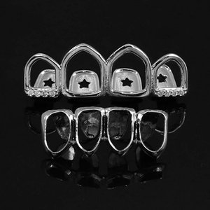 Hip Hop Jewelry Mens Bling Diamond Grills Luxury Designer Jewlery Iced Out Teeth Grillz Rapper Hiphop Gold Silver Rose Fashion Hollow Boy