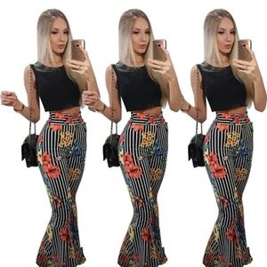 Ladies Rayed Print Flow Full Pants Top Top Summer 2 pieza Juego para mujeres Mujeres Dos piezas Conjuntos Para Mujeres Sits S M L XL XXL