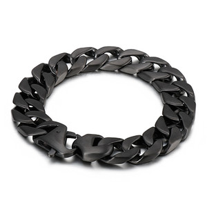 15mm 7.2 inch casting stainless steel Curb Link Chain Bracelet Bangle Fashion Mens Women Jewelry birthday gifts