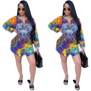 New Lady Design Clothes Women Digital Printed Long Sleeve Loose Shirts Dress Fashion Plus Size S-2XL