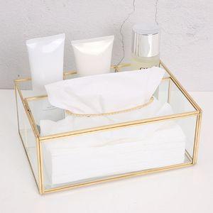 Nordic Glass Serviette Tissue Box Toilettenpapierhülle Container Makeup Lagerung Halter 50JD Q0125