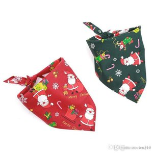 Christmas Pet Dog Bandana Dog Bib Scarf Washable Soft Cotton Santa Claus Printing Puppy Kerchief Bow Tie Pet Grooming Accessories DBC VT0994