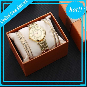 3pcs Gift Set Box for Women Fashion Design Women's Bracelet Watches 2021 Hot Sale Clock Ladies Dress Q1219
