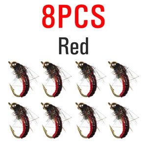 #12 ICERIO 8PCS Brass Bead Head Fast Sinking Nymph Scud Bug Worm Flies Trout Fly Fishing Lure Bait C0222