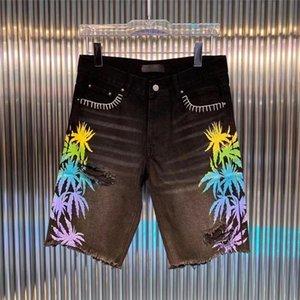 Mens Denim Curto Moda Azul Hair Holes Jeans Casual Shorts Preto Verão Homens Hip Hop Pants DW7082