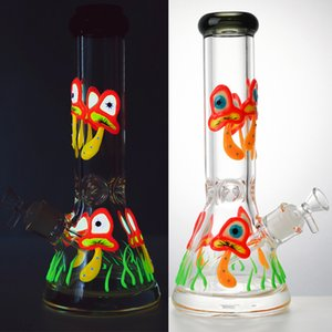 11 Inch Glow In The Dark Glass Bongs Straight Tube Oil Dab Rigs Mushroom Beaker Bong 18mm Joint Water Pipes With Diffused Downstem