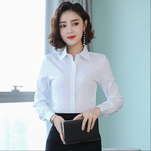 Korean Women Shirts Cotton Women Long Sleeve Shirts OL White Shirt Tops Plus Size Woman Basic Blouses Blusas De Moda 2021