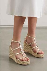 2020 New Luxury Women Gladiator Sandals Rock Stud 95 Leather Espadrille Wedge Sandals Lady Beach Sandalias Femininas EU35-43