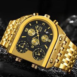 Temeite الكوارتز رجل الساعات أعلى ماركة فاخرة ذهبية على مدار الساعة 3 المنطقة الزمنية تاريخ الفولاذ المقاوم للصدأ حزام العسكرية المعزز ساعة اليد C0227