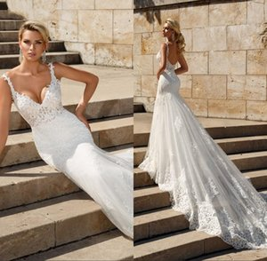 Alluring Mermaid Wedding Dresses 2021 Expensive Lace Applique Deep V-neck Spaghetti Wedding Gowns Fishtail Bridal GownsVestidos De Novia