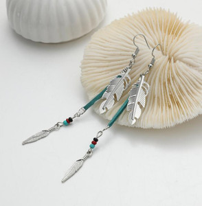Vintage Leaves Earrings Women Bohemia Style Feathers Hook Earrings Fashion Beads Leather Earringsps2878