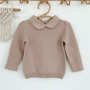 Spring Autumn Baby Kids Girls Long Sleeve Pure Color Knit Sweater Pullover Sweaters Children's Clothes 210811