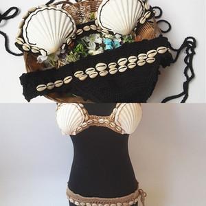 Shell Bikini 2019 Frauen Bikini Set Häkeln Badeanzug Handgemachtes Strick Zwei Stücke Badebekleidung Strappy Bathing Damen Beachwear L0223