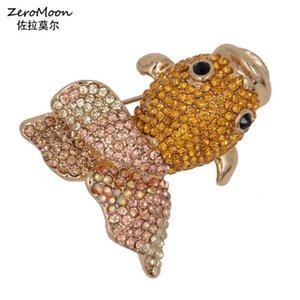 Pins, Brooches Lifelike Crystal Rhinestone Gold Fish Brooch Metal Animal Pin Women Garment Accessory Fashion Jewelry