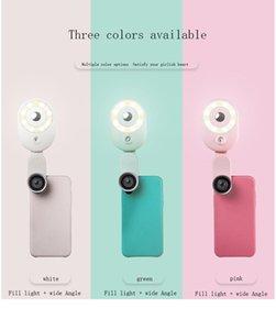 الهاتف المحمول selfie الدائري ضوء المحمولة دائرة التصوير كليب ضوء الجمال ملء مصباح للهاتف الخليوي مع عدسة واسعة الزاوية