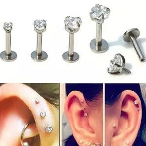 Steel Labret Lip Stud Ring Zircon Anodized Titnium Internally Threaded CZ Gem Monroe 16G Tragus Helix Ear Piercing 2mm 3mm 4mm