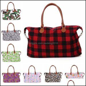 Housekeeping Organization Home & Gardenfashion Buffalo Check Handbag Red Black White Plaid Bags Large Capacity Travel Tote With Pu Handle St
