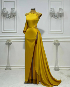 Aso Ebi 2021 Arabic Gold Sexy Sheath Evening Dresses Pearls High Split Prom Dresses Satin Formal Party Second Reception Gowns ZJ554
