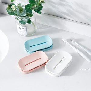 Unique soap dishes bathroom colorful soap holder double drain soap tray holder a good helper for your family EWC6331