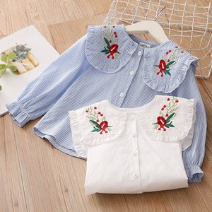 New Spring Autumn 2 3 4 6 8 10 Years Cotton White Blue Striped Embroidery Flower Flare Sleeve Kids Baby Girls Blouse Shirt 210305