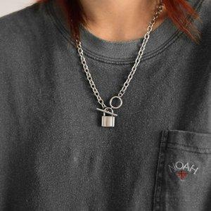 New Edelstahl Rock Lock Choker Lange Kette Punk Schmuck Mujer Schlüssel Vorhängeschloss Anhänger Halskette Für Frauen Geschenk