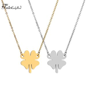 FairLadyHood 2021 New Four-leaf Clover Pendant Necklace Stainless Steel Sweater Chain Women Simple Necklace For Women Jewelry