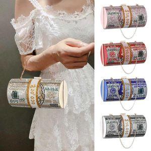 Cross Body Money Clutch Purses Crystal Diamond Evening Bags Stack Of Cash Dollars Wedding Dinner Bag Luxury Party Shoulder Handbags