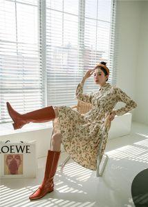 2021 New Pinage Ditsy Floral Print Button Up Hemdhülse Tunika Eine Linie Langes Knielang Herbst Kleidung UN0R