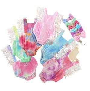 Baby Tie Ddye Outfit Suit Children Clothes Set Pit Strip Overalls Lace Stitching Jumpsuit Headband 2pcs Set YL434