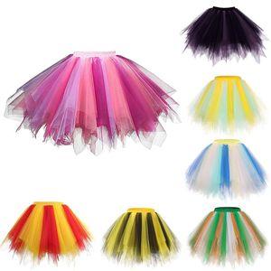 Skirts Women Vintage Tulle Colorful Short Skirt Tutu Ballet Dancewear Party Costume Ball Gown Mini Jupon Sous Robe #29