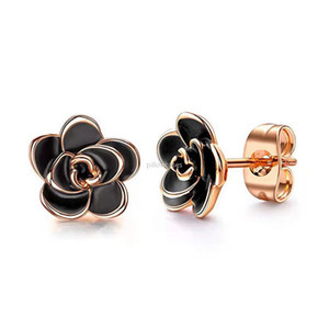 Black White Flower Stud earrings fashion women earrings ear cuff Fashion jewelry gift will and sandy drop ship