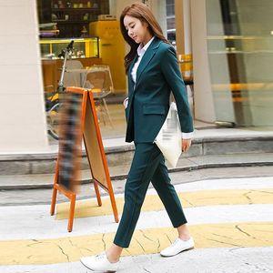 Office Work Wear Pant Suits 2 Piece Sets Solid Blazer Jacket & Trousers Suit For Women Set Femme New Elegant