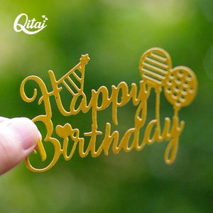 QITAI Happy Birthday Letters with balloon Metal Cutting Dies new 2021 DIY Paper Card Crafts Creative Decoration Scrapbooking