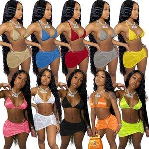 Women sexy swim suit bikini three piece sets halter bra+trunks+mesh sheer mini skirts fashion bathing suit bodycon swimwear summer 4613