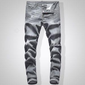 Graue Männer Slim Fit Denim Jeans Solide Farbe Hip Hop Streetwear Biker